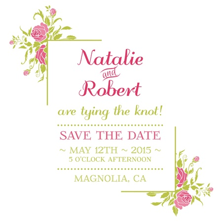 caligraphic: Wedding Invitation Card - Flower Theme  Illustration