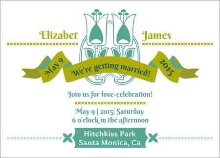 Wedding Invitation Card - Flower Theme Stock Vector - 15911124