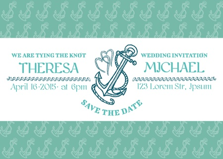 anchor man: Wedding Marine Invitation Card
