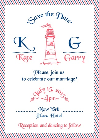 caligraphic: Wedding Marine Invitation Card Illustration