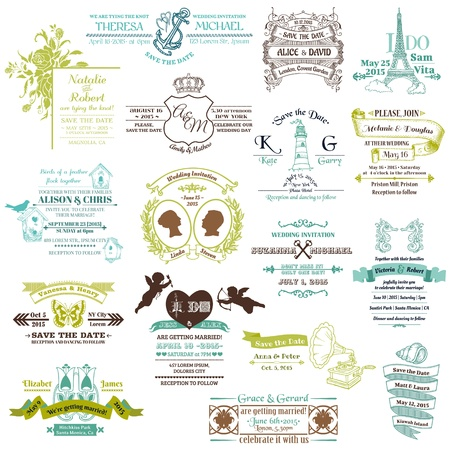 Colección de la boda invitación de la vendimia - para el diseño, libro de recuerdos