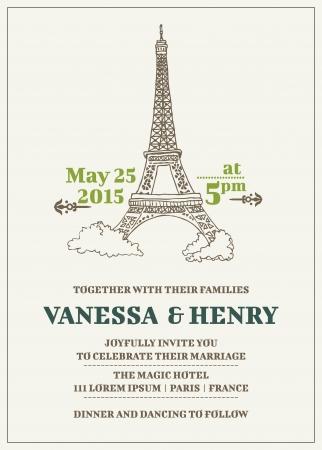 Wedding Invitation Card - Paris Theme Stock Vector - 16056686