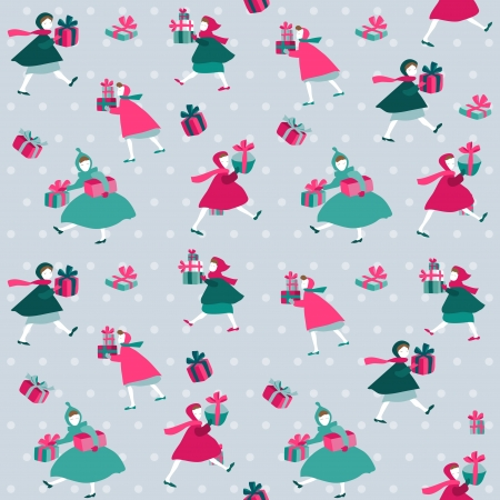 scrap paper: Christmas Background - Girls with presents - in vector