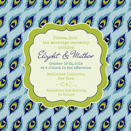 caligraphic: Wedding Vintage Invitation Card - Peacock Theme - in vector Illustration