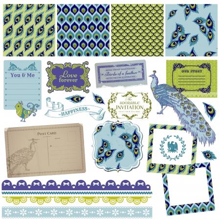 pavo real: Elementos del libro de recuerdos de dise�o - Las plumas del pavo real del vintage - en vector