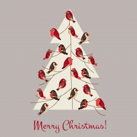 Retro Christmas Card - Winter Birds on Christmas Tree - for invitation, congratulation in vector Vector