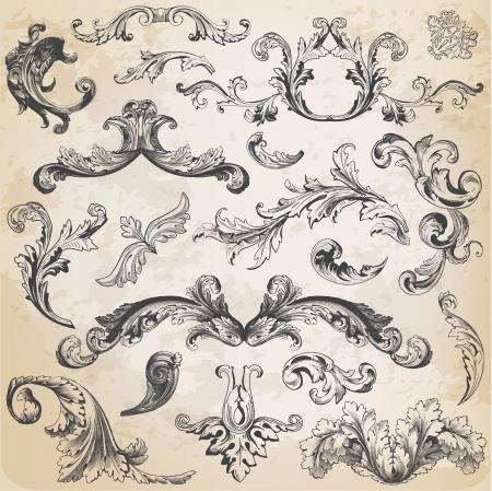 Vector Set: Elementos caligr�ficos del dise�o y decoraci�n de la p�gina, colecci�n Frame Vintage con flores