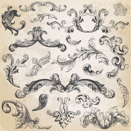 filigree: Vector Set: kalligrafische ontwerpelementen en pagina decoratie, Vintage Frame collectie met Bloemen