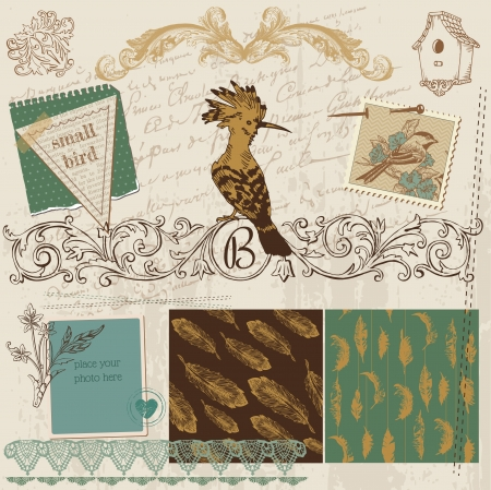 Scrapbook Design Elements - Vintage Bird Feathers - in vector Stock Vector - 16221313