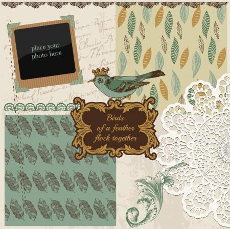 Scrapbook Design Elements - Vintage Bird Feathers - in vector Stock Vector - 16221311