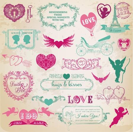 libro de recuerdos, amor, día de san valentín, el casarse, vintage, pedazo, el scrapbooking, invitación, caligrafía, corazón, cupido, ángel, marco, pájaro, diseño, elemento, amour, fondo, bandera, retro, día, romance, día de san valentín, tarjeta, esquina , pareja, decoración, decoración, dibujar Vectores