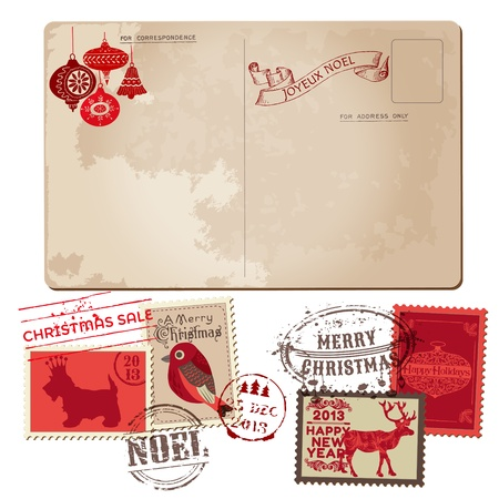 postcard background: Vintage Christmas Postcard and Stamps - for design, invitation, congratulation, scrapbook - in vector Illustration