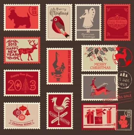 christmas vintage: Christmas Postage Stamps - for design, scrapbook - in vector