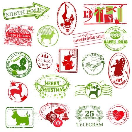 Christmas Collection Stamp - para el dise�o, libro de recuerdos, invitaci�n - en vector