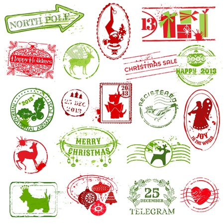 Christmas Stamp Collection -  for design, scrapbook, invitation - in vector Stock Vector - 16221312