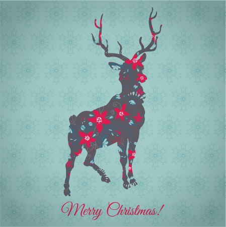 Christmas Card - with Colorful Reindeer - in vector Vector