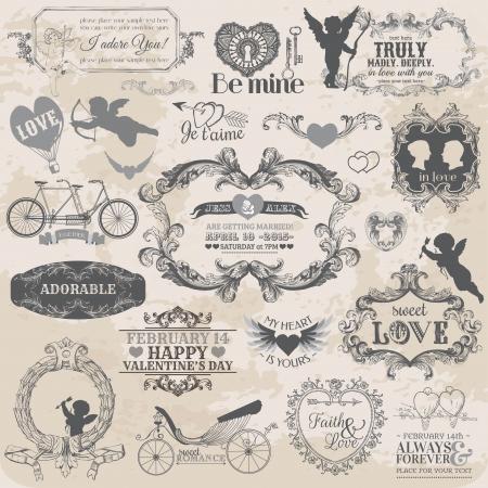 ślub: Elementy Scrapbook Design - Zestaw Vintage Walentynki Love - projektowania, notatnik - w wektorze Ilustracja