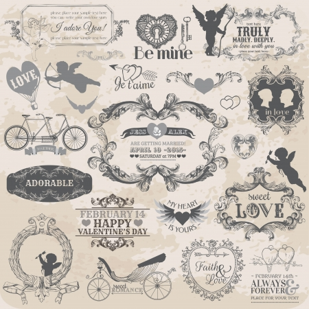 scrapbooking: Scrapbook Design Elements - Vintage Valentines Love Set - for design, scrapbook - in vector Illustration