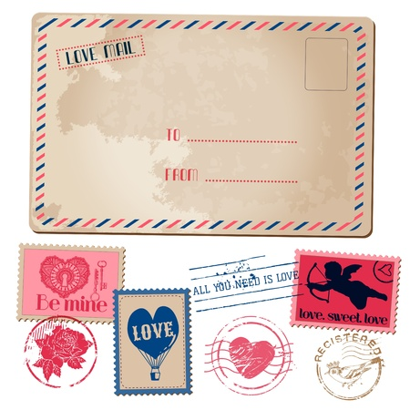 Vintage Love Valentine Postcard and Stamps - for design, invitation, scrapbook - in vector Vector