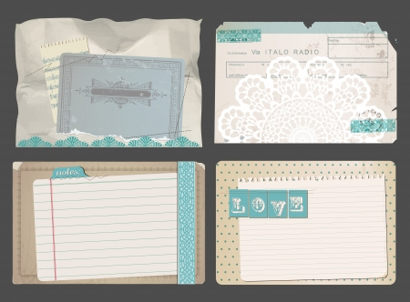 Set of Vintage Papers - for design or scrapbook - in vector Vector
