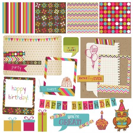 scrapbook elements: Retro Birthday Celebration Design Elements - for Scrapbook, Invitation in vector Illustration