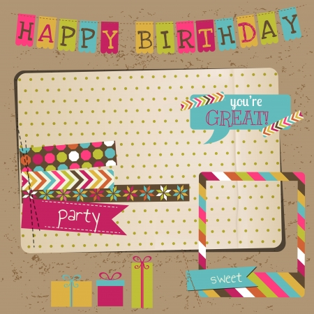 birthday cupcakes: Retro Birthday Celebration Design Elements - for Scrapbook, Invitation in vector Illustration