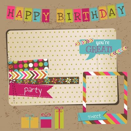 happy birthday baby: Retro Birthday Celebration elementos de dise�o - para �lbum de recortes, invitaci�n en vector