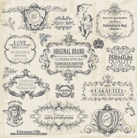 victorian style: Vector Set: Calligraphic Design Elements and Page Decoration, Vintage Frame collection with Flowers