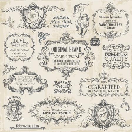 vintage etiket: Vector Set: kalligrafische ontwerpelementen en pagina decoratie, Vintage Frame collectie met Bloemen
