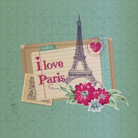 croissants: Scrapbook Design Elements - Paris Vintage Card with Stamps - in vector