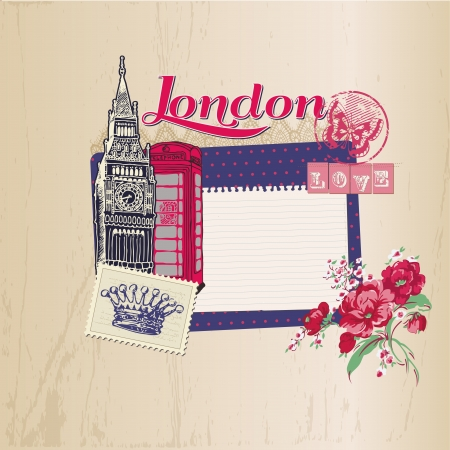 london tower bridge: Scrapbook Design Elements - London Vintage Card with Stamps - in vector