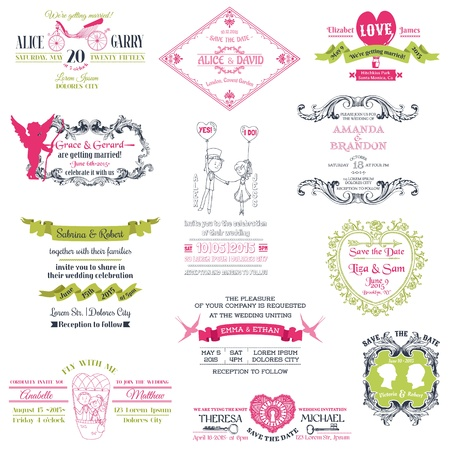 postcard vintage: Wedding Vintage Invitation Collection - for design, scrapbook