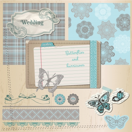 Scrapbook Design Elements - Vintage Lace Butterflies Vector