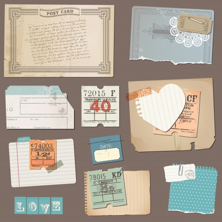 letter memo: Set of Old paper objects - for design and scrapbook