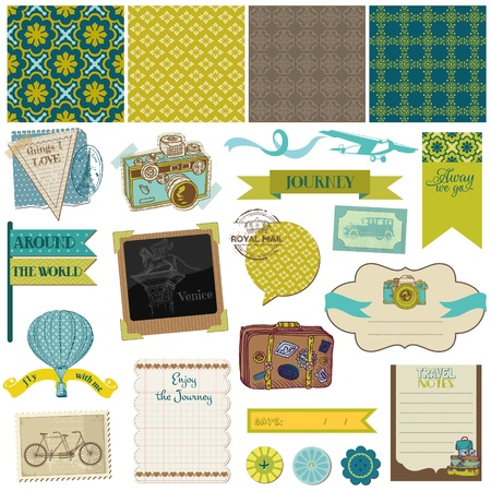 scrapbook cover: Scrapbook Design Elements - Vintage Travel Set Illustration