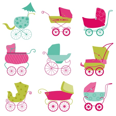 birth announcement: Baby Carriage Background - for your design and scrapbook  Illustration