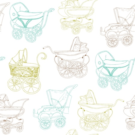 Baby Carriage Background - for your design and scrapbook Stock Vector - 16604926