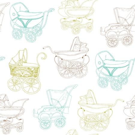 Bebé blanco carro - para su diseño y libro de recuerdos