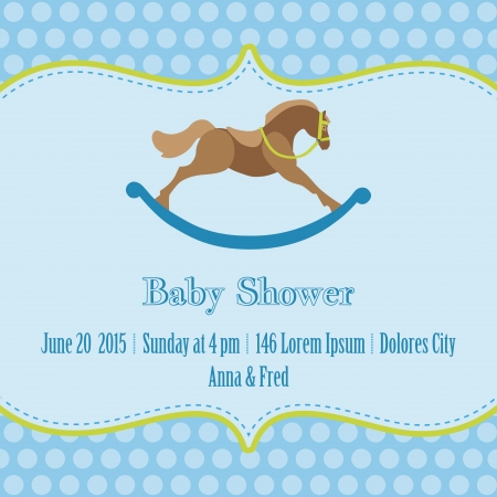 Baby Boy Shower and Arrival Card - with place for your text  Vector