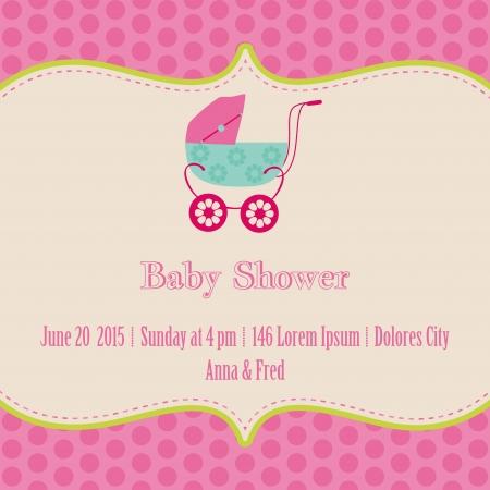 girl socks: 赤ちゃんの女の子のシャワーと到着カード - あなたのテキストのための場所で  イラスト・ベクター素材