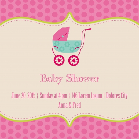 Baby Girl Shower and Arrival Card - with place for your text  Vector