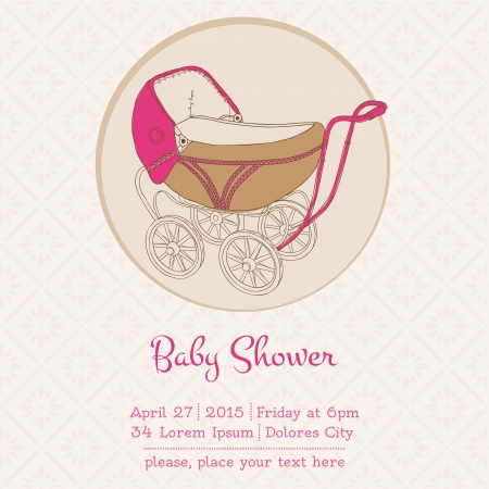 Baby Girl Shower or Arrival Card with Place for your text Vector