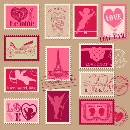 valentine: Vintage Love Valentine Stamps - for design, invitation, scrapbook