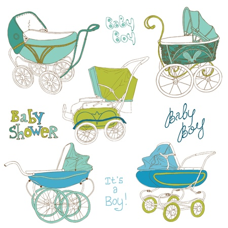 baby carriage: Baby Carriage Set - for your design and scrapbook