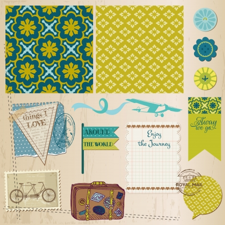 Scrapbook Design Elements - Vintage Travel Set Vector