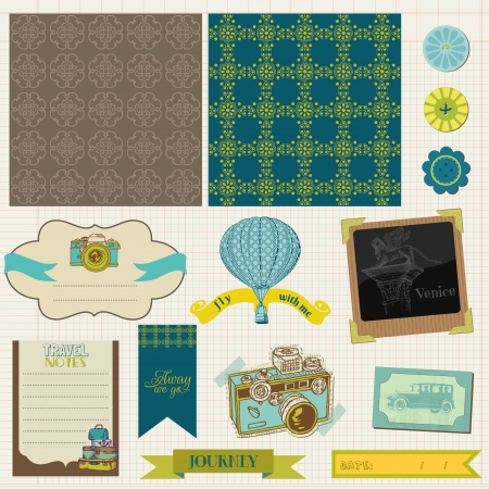 Scrapbook Design Elements - Vintage Travel Set Stock Vector - 16604934