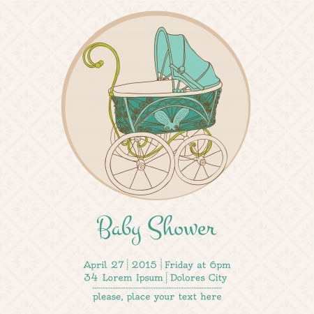 cute baby girls: Baby Shower or Arrival Card with Place for your text