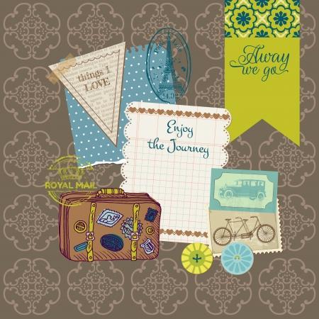 reise retro: Scrapbook Design Elements - Weinlese-Reise-Set