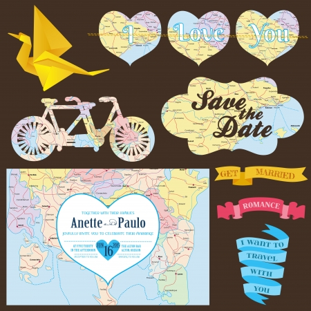 romantic travel: Wedding Decoration Set - for you design, scrapbook, wedding invitation, decor