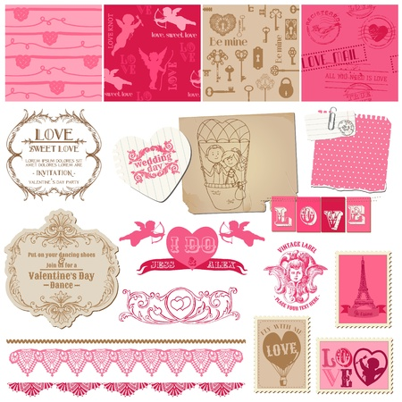 love stamp: Scrapbook Design Elements - Love Set - for cards, invitation, greetings Illustration